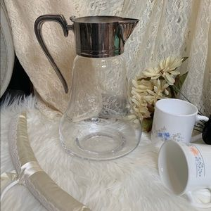 Shabby Chic Antique Style Silver + Glass Pitcher